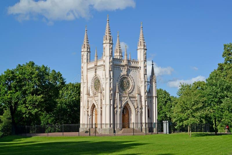 peterhof Russia Nevsky kaplica świętego Aleksander Gocki kościół w parkowym Aleksandria zdjęcia royalty free