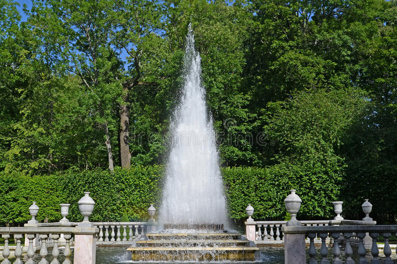 PETERHOF, RUSSIA. The Pyramid fountain in a summer sunny day royalty free stock photography