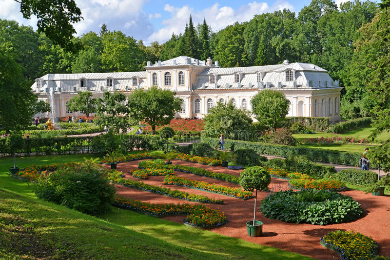 peterhof russia Sikt av det trädgårds- och stora växthuset för drivhus royaltyfria bilder