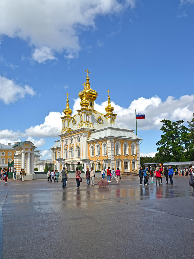 PETERHOF, RUSSIA. A view of Church of Saints Peter and Paul in the Grand Peterhof Palace stock images