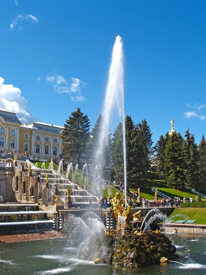 peterhof Russie Samson Who Is Tearing Apart une fontaine de Lion Mouth dans des sièges d'orchestre de Nizhny de parc photographie stock libre de droits