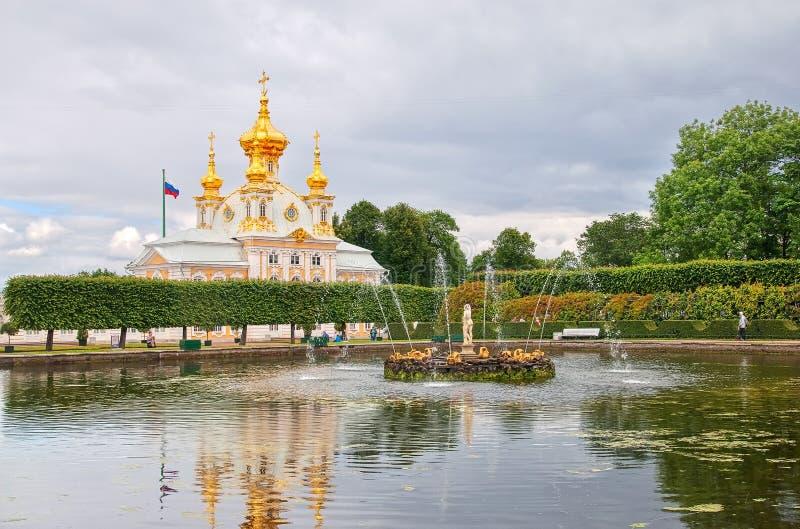 Peterhof Russland Quadratischer Teich mit Apollo stockfoto
