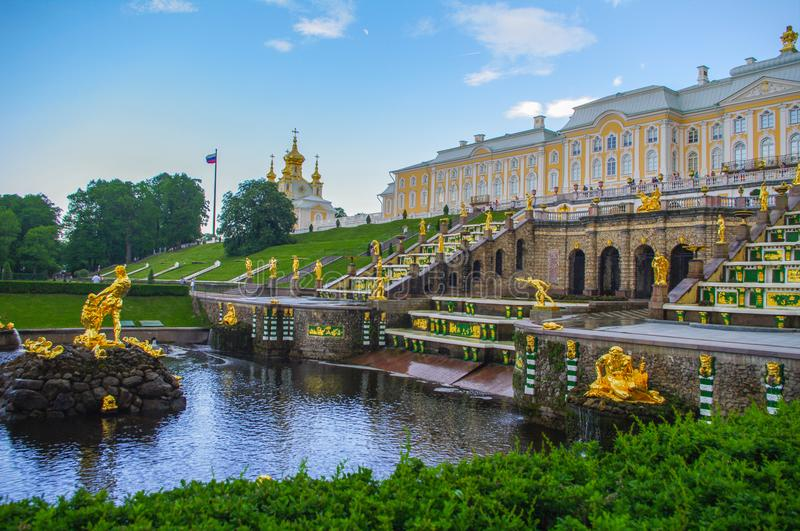 PETERHOF, SAINT PETERSBURG, RUSSIA - JUNE 06, 2014: the Upper Park palace was included in the UNESCO World Heritage List. PETERHOF, SAINT PETERSBURG, RUSSIA stock photos