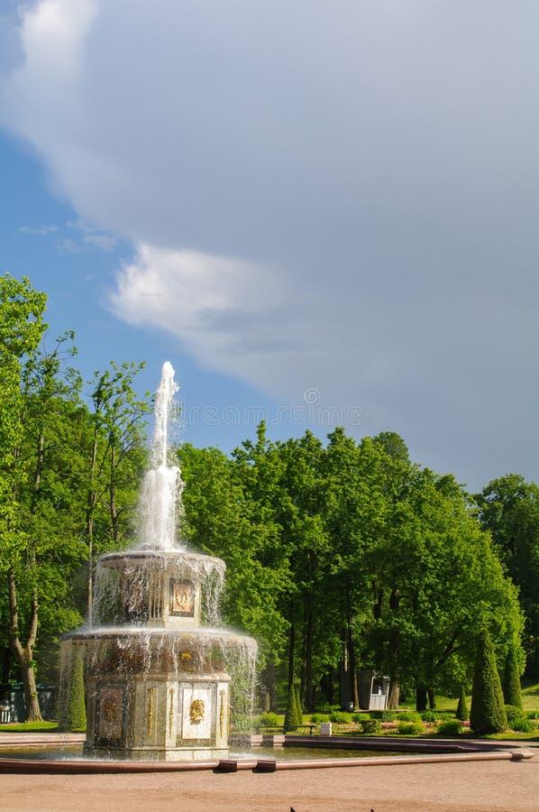 PETERHOF, SAN PIETROBURGO, RUSSIA - 6 GIUGNO 2014: La fontana nel palazzo superiore del parco è stata inclusa nel patrimonio mond fotografia stock libera da diritti