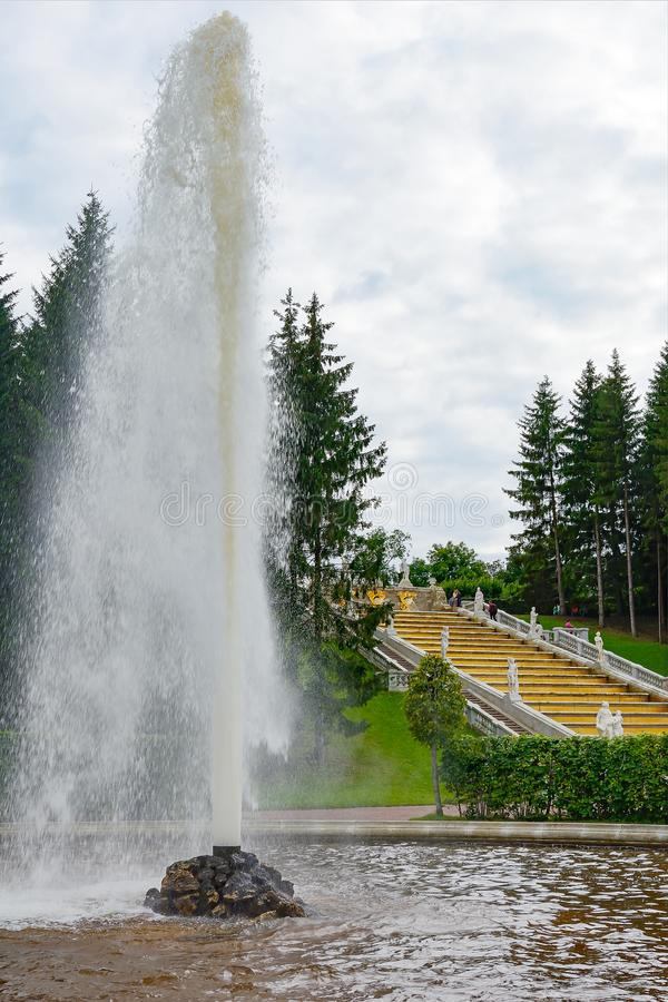 Peterhof, the Second Menager fountain. Peterhof, the second Menagerie fountain and the Marlin cascade Golden mountain in the garden of Bacchus of the Lower Park royalty free stock image