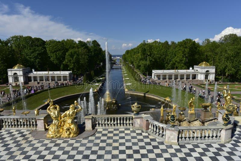 Peterhof slott, storslagen kaskad och Samson Fountain, Ryssland royaltyfri bild