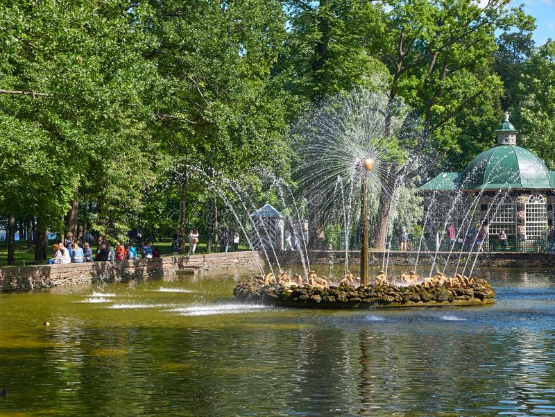 Sun Fountain in the Menagerie Pool in Peterhof, St.Petersburg, Russia. Peterhof, St. Petersburg, Russia - August 3, 2017: The Sun Fountain in the Menagerie Pool royalty free stock image