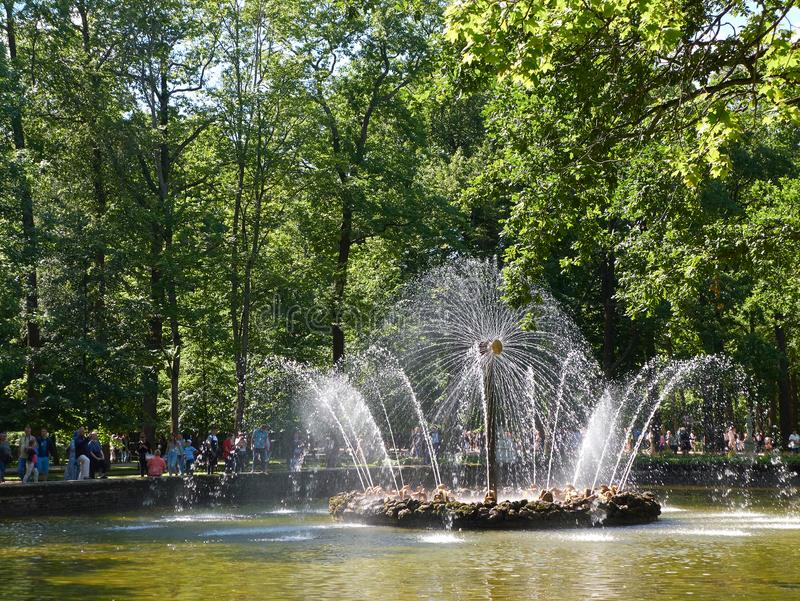 Sun Fountain in the Menagerie Pool in Peterhof, St.Petersburg, Russia. Peterhof, St. Petersburg, Russia - August 3, 2017: The Sun Fountain in the Menagerie Pool royalty free stock photos