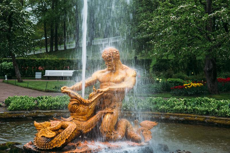 Peterhof St Petersburg, Ryssland - CIRCA Juni 2017: Springbrunn i parkera i Peterhof eller Petergof royaltyfri fotografi