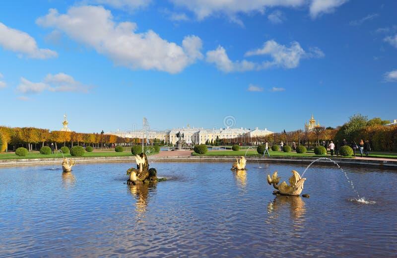 Peterhof, St. Petersburg. The Upper Park stock photos