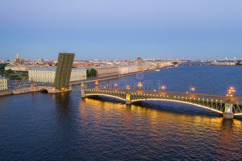 Petersburg bridges. Trinity Bridge. White nights in Petersburg. Cities of Russia.  royalty free stock image