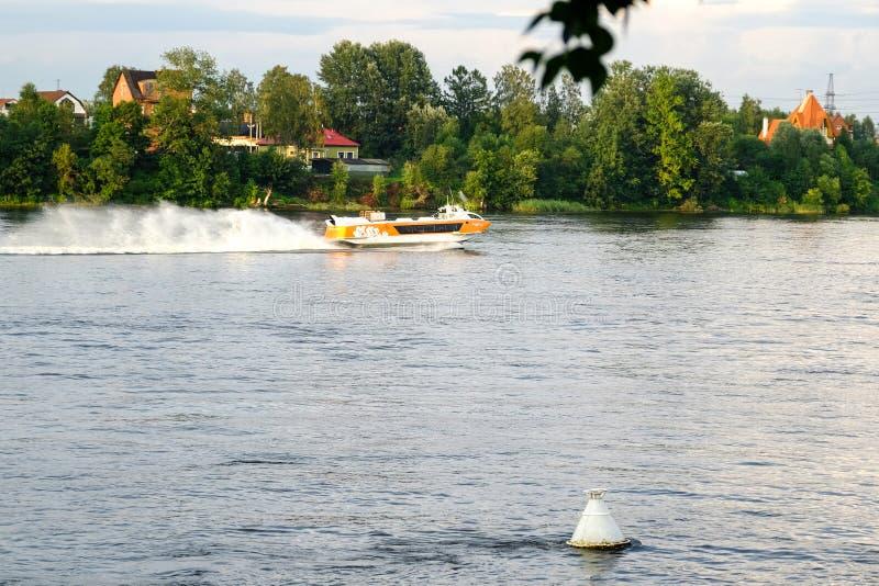 Petersburg Rosja 31 07 2018 hydrofoil przyjemności łodzi w St Petersburg fotografia stock