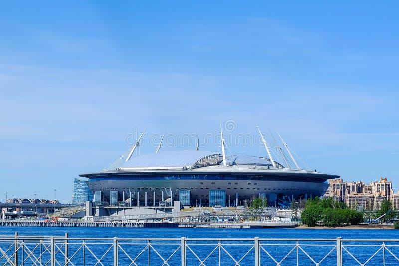 Petersburg Rosja 05 28 2018 Zenitowa arena dwa tygodnia przed 2018 pucharami świata zdjęcia stock