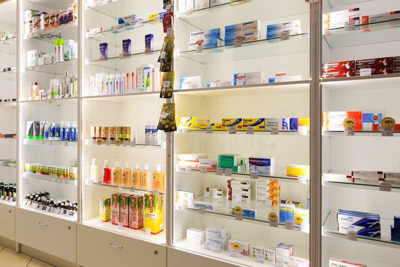 Petersburg, Russia - June 30, 2017: virins with medicines in the pharmacy. stock photos