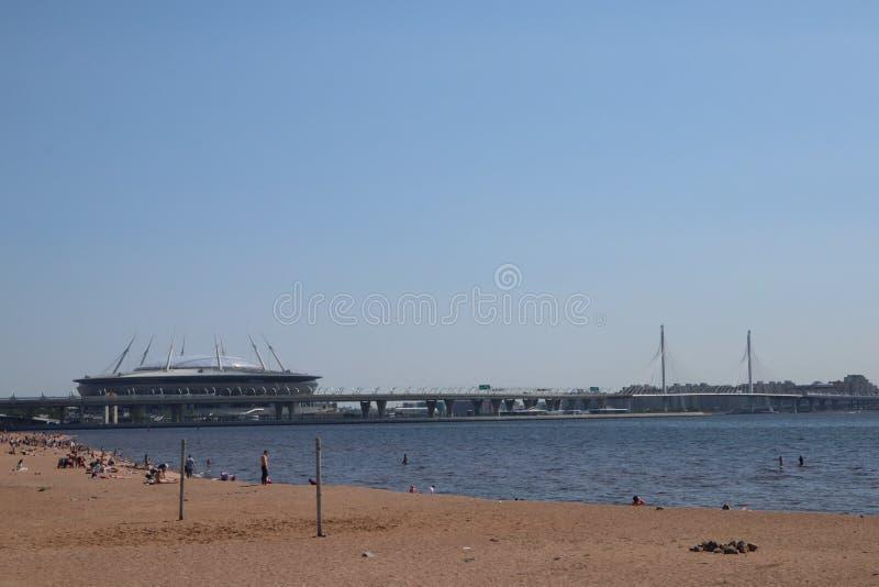 petersburg saint RYSSLAND - JUNI 4 2019 Gazprom f?r skyskrapa?Lakhta mitt ?h?gkvarter arkivbild