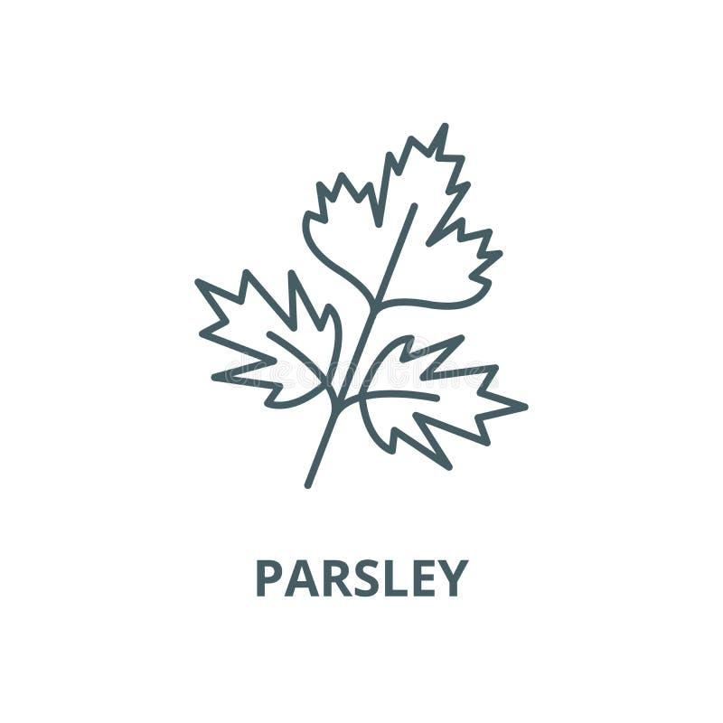 Petersilienvektorlinie Ikone, lineares Konzept, Entwurfszeichen, Symbol lizenzfreie abbildung
