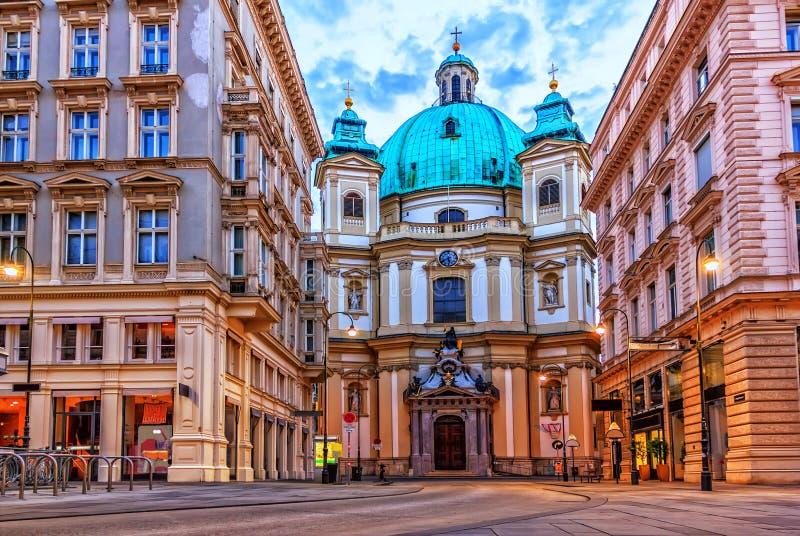 Peterskirchen av Wien, Graben, Österrike, inga personer royaltyfri bild