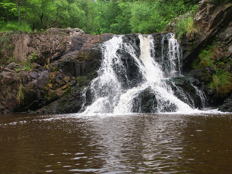 Peterson Falls on Montreal River. The scenic Peterson Falls of the Montreal River - northwoods Wisconsin stock image