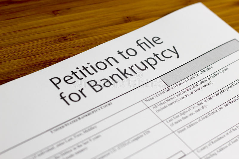 Petição da falência fotografia de stock