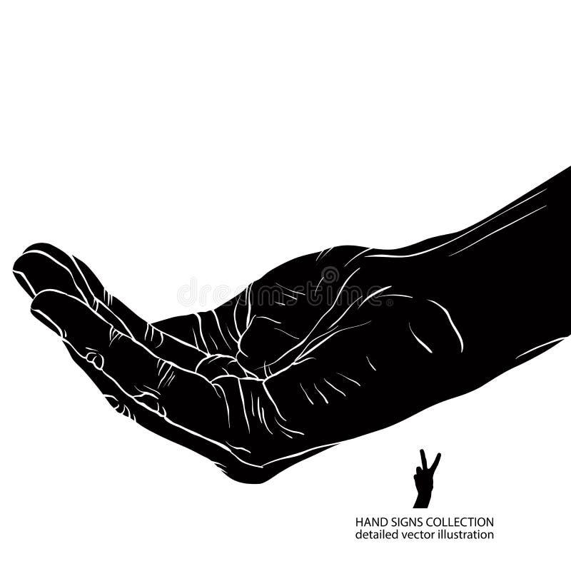Petición de la mano, ejemplo blanco y negro detallado del vector libre illustration