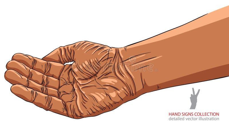 Petición de la mano, pertenencia étnica africana, ejemplo detallado del vector libre illustration