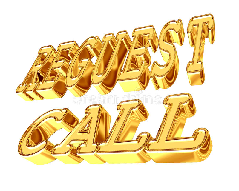 Petición del texto del oro una llamada en un fondo blanco stock de ilustración