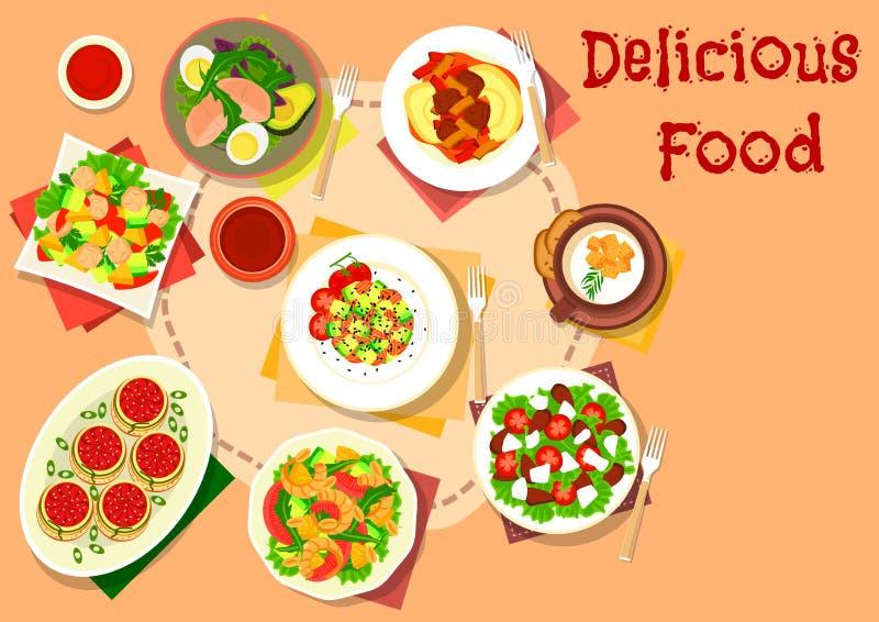 Petisco, ícone dos pratos da salada para o projeto saudável do alimento ilustração do vetor