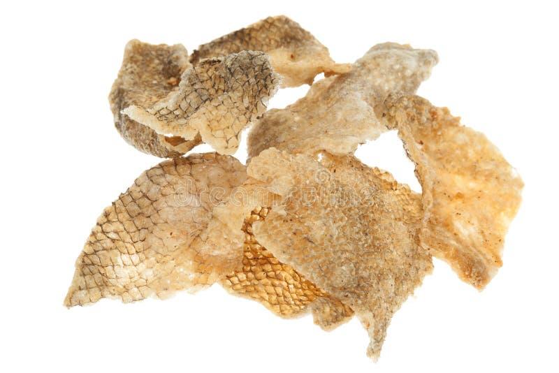 Petisco fritado da pele dos peixes fotografia de stock