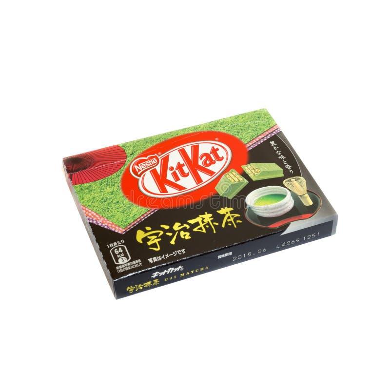 Petisco japonês dos doces no matcha novo do chá verde de loja isenta de direitos aduaneiros do aeroporto do chitose, sakura-match fotos de stock royalty free