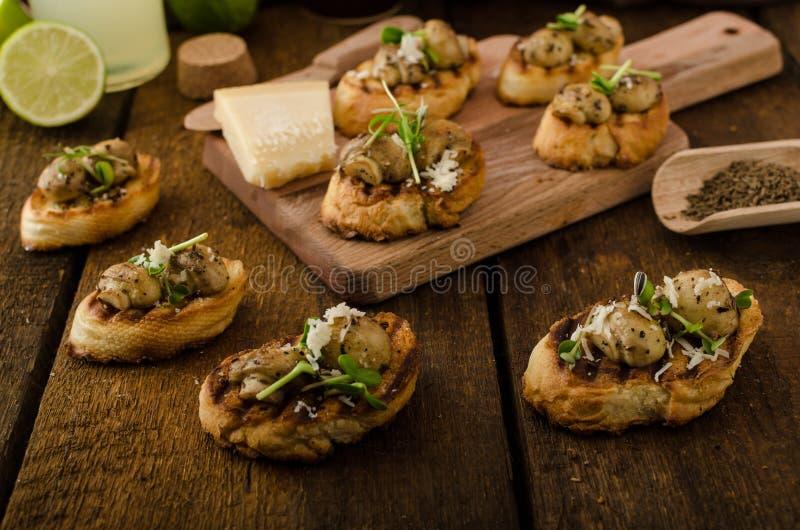 Petiscos do cogumelo no baguette grelhado fotos de stock royalty free