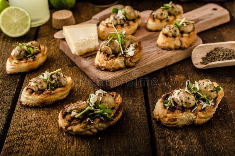 Petiscos do cogumelo no baguette grelhado fotografia de stock