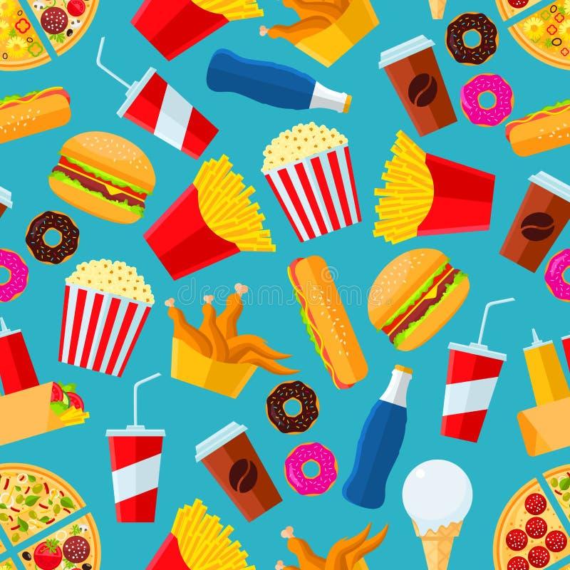 Petiscos do fast food e fundo sem emenda das bebidas ilustração stock