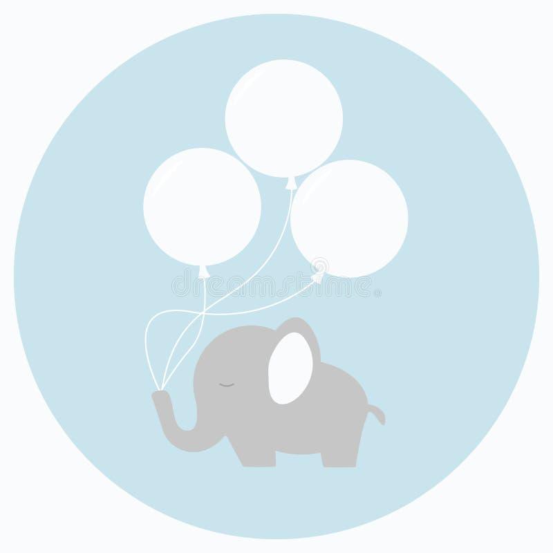Petit éléphant de bébé avec de grands ballons illustration libre de droits