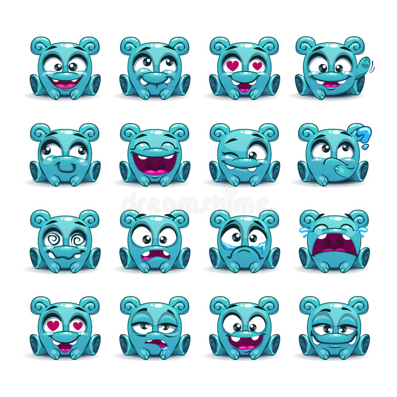 Petit étranger bleu drôle mignon avec différentes émotions illustration de vecteur