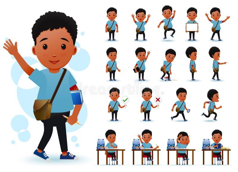 Petit étudiant prêt à employer Character de garçon d'Africain noir avec différentes expressions du visage illustration de vecteur