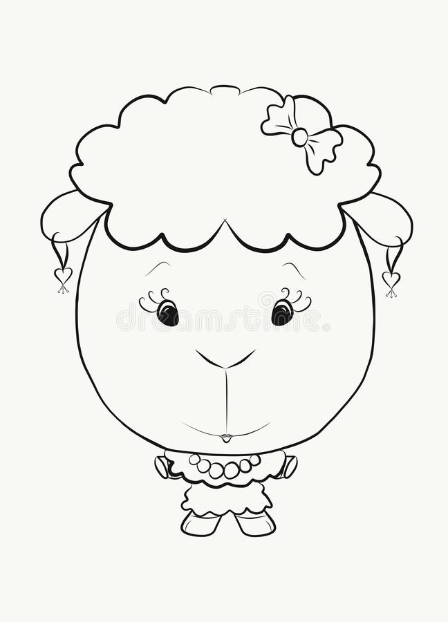 Petit agneau élégant de coloration illustration stock