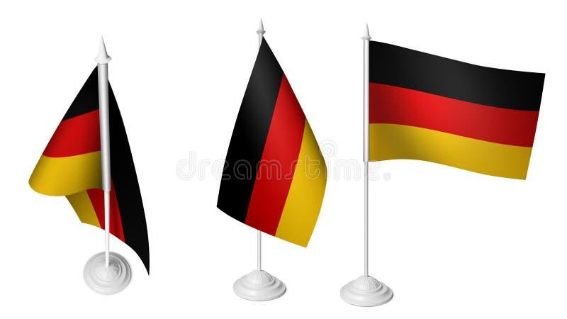 Petit Allemagne drapeau d'isolement de 3 ondulant le tissu réaliste de 3d Allemagne illustration de vecteur