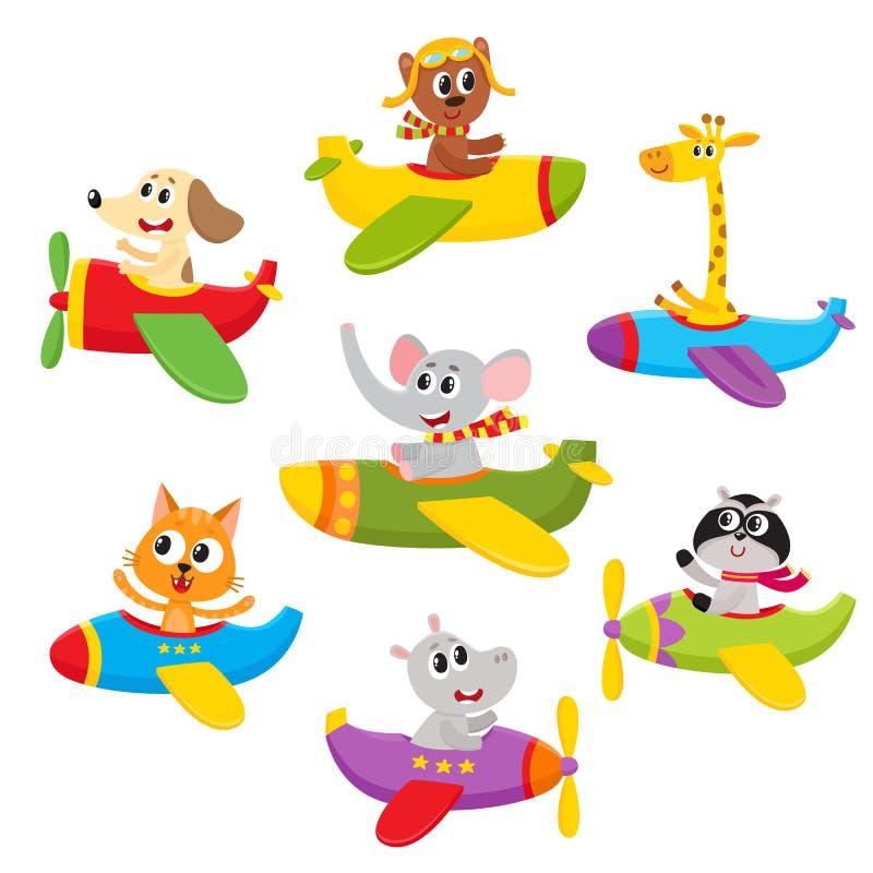 Petit animal mignon de bébé, caractères d'animal familier volant sur des avions, avions, illustration libre de droits