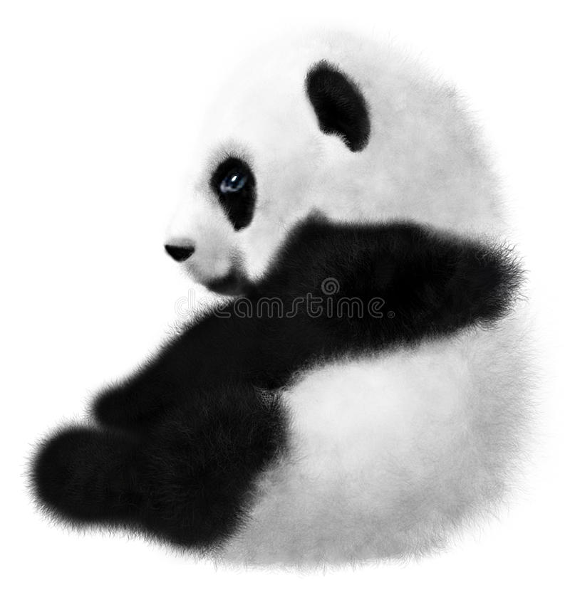 Petit animal se reposant de panda sur un fond blanc illustration libre de droits