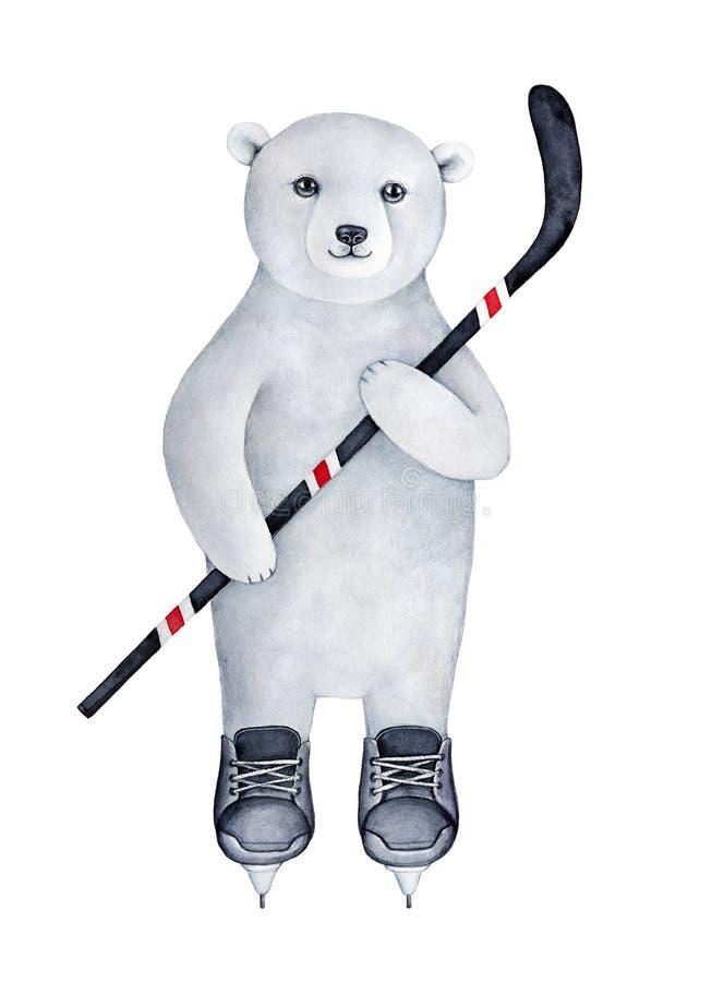 Petit animal sportif fort d'ours blanc habillé dans l'uniforme de patinage de glace noire illustration de vecteur