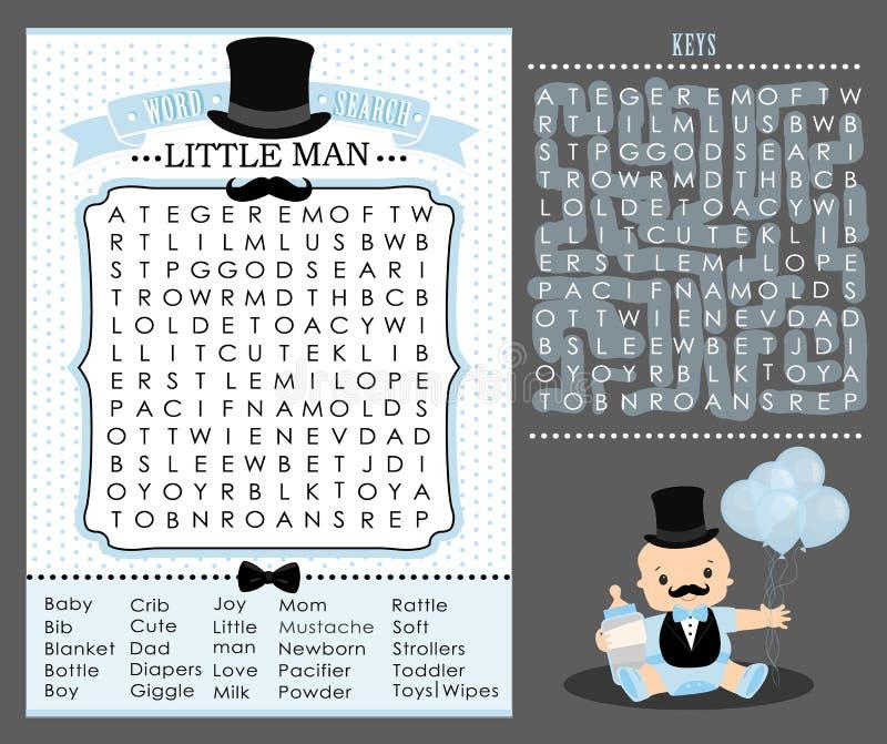 Petit anniversaire de jeu de partie d'homme premier, puzzle de recherche de Word de fête de naissance Vintage bleu et blanc migno illustration de vecteur