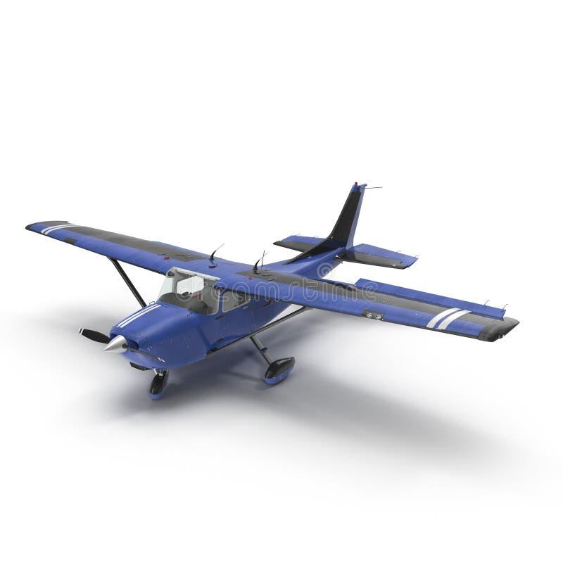 Petit avion privé bleu d'isolement sur le blanc illustration 3D illustration libre de droits
