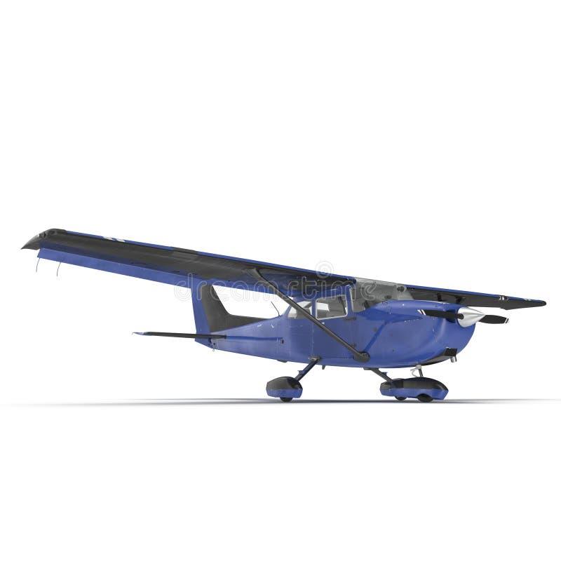 Petit avion privé bleu d'isolement sur le blanc illustration 3D illustration stock