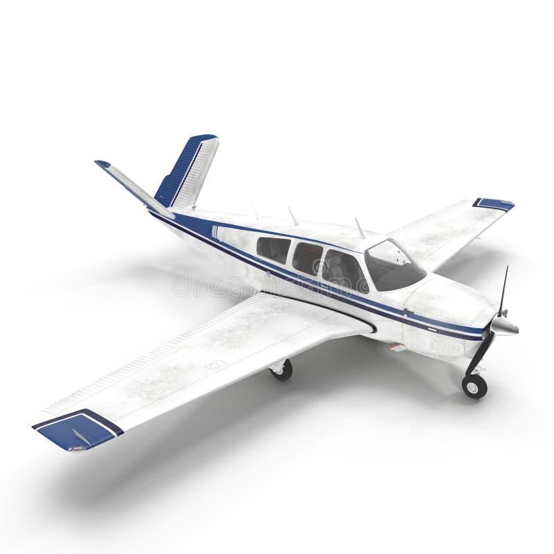 Petit avion privé d'isolement sur le blanc illustration 3D illustration de vecteur