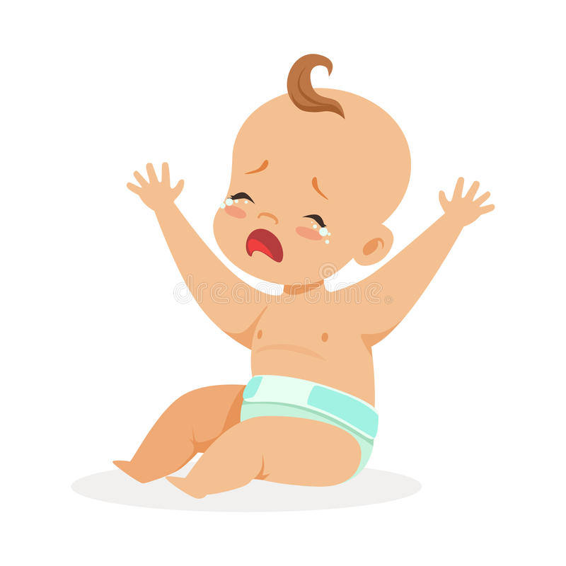 Petit bébé doux dans une couche-culotte se reposant avec ses mains augmentées et pleurant, illustration colorée de vecteur de per illustration libre de droits