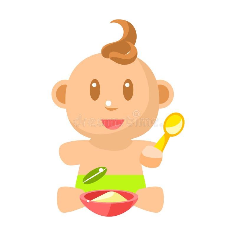 Petit bébé garçon heureux dans la couche verte mangeant du gruau avec les illustrations simples de vecteur de cuillère avec le no illustration de vecteur