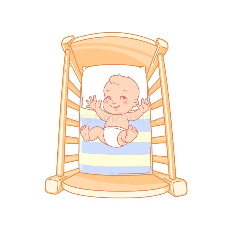 Petit bébé mignon éveillé, jeu dans le lit illustration de vecteur