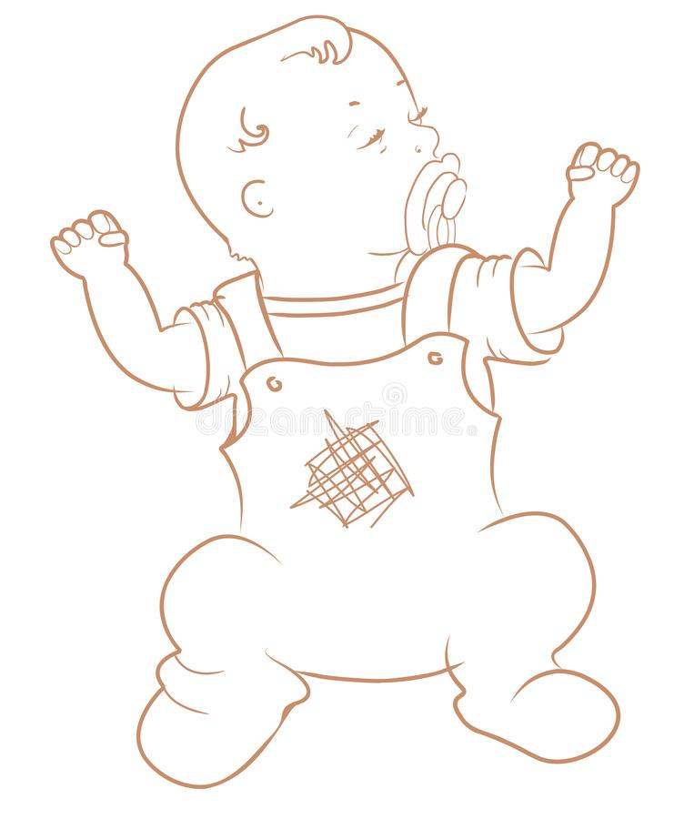 Petit bébé mignon Bébé garçon de rampement dans la combinaison bleue illustration stock