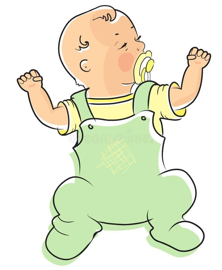 Petit bébé mignon Bébé garçon de rampement dans la combinaison bleue illustration de vecteur