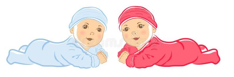 Petit bébé mignon Bébé garçon de rampement dans la combinaison bleue illustration libre de droits
